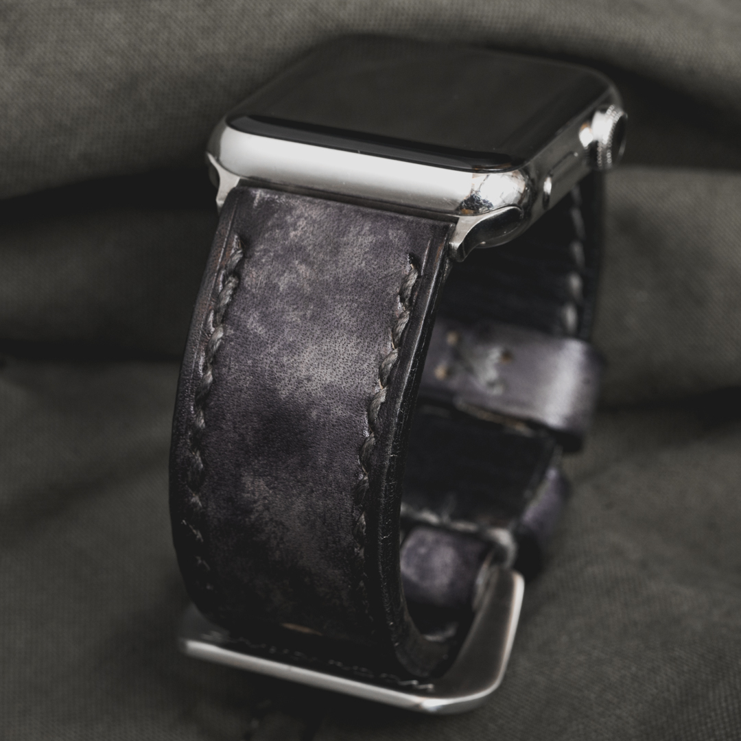 """""""CAMOUFLAGE"""" HAND-DYED COWHIDE LEATHER STRAP, STONE GREY (for appleWatch)"""