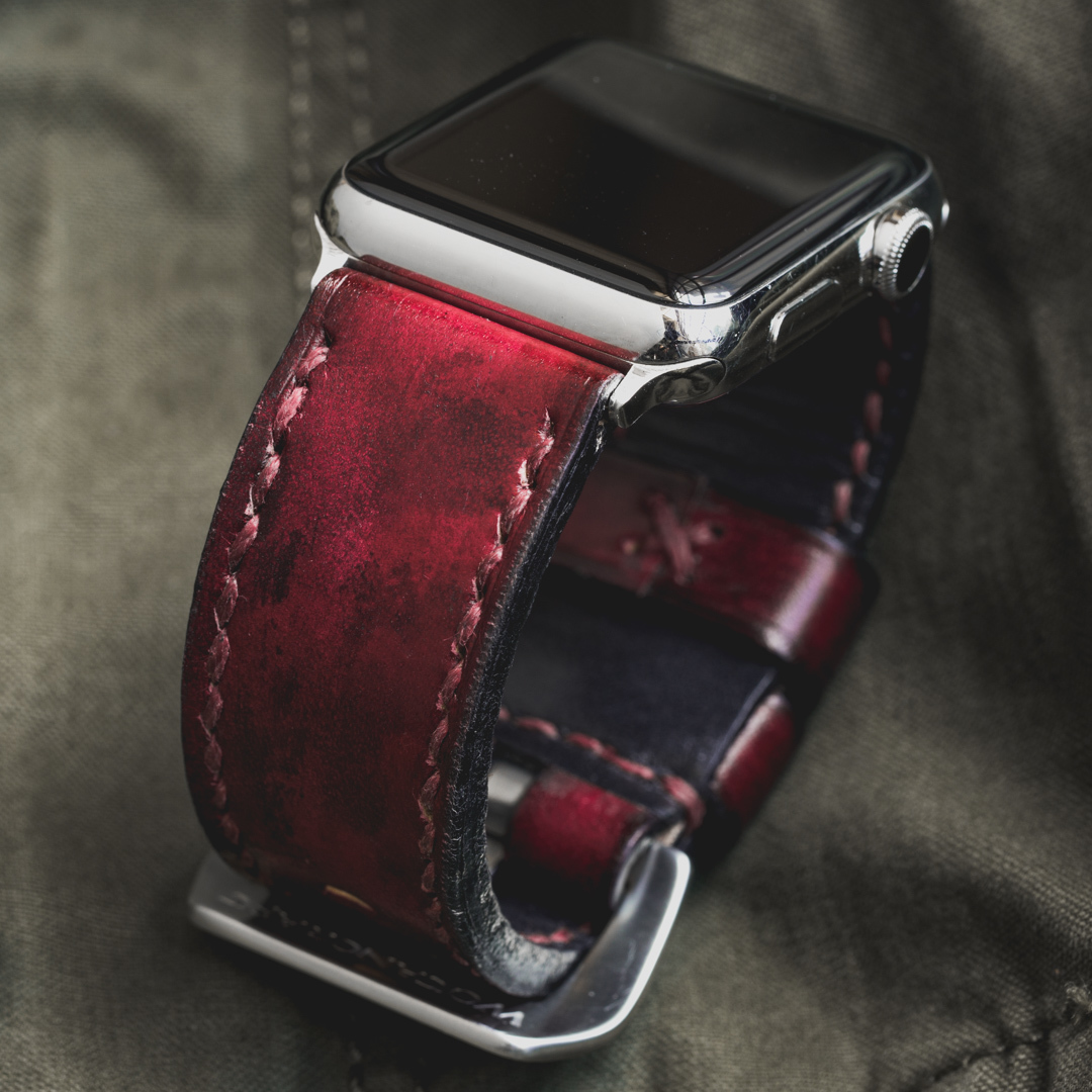 """CAMOUFLAGE"" HAND-DYED COWHIDE LEATHER STRAP, BLOOD RED (for appleWatch)"