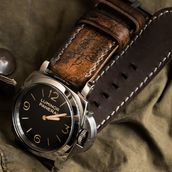 """PATH OF WAR"" CALLIGRAPHY HANDMADE COWHIDE LEATHER STRAP (for Panerai)"