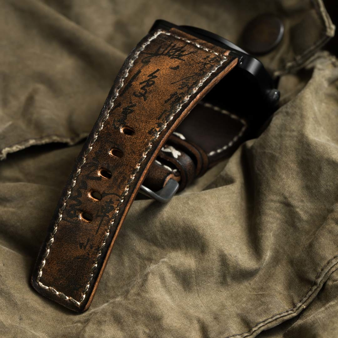 """PATH OF WAR"" CALLIGRAPHY HANDMADE COWHIDE LEATHER STRAP (for Bell&Ross)"