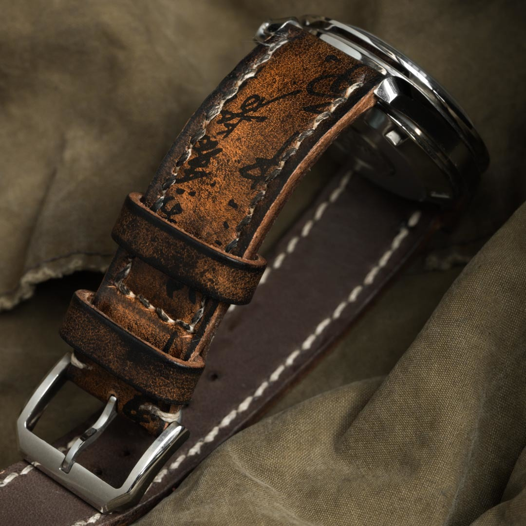 """PATH OF WAR"" CALLIGRAPHY HANDMADE COWHIDE LEATHER STRAP (for Omega)"