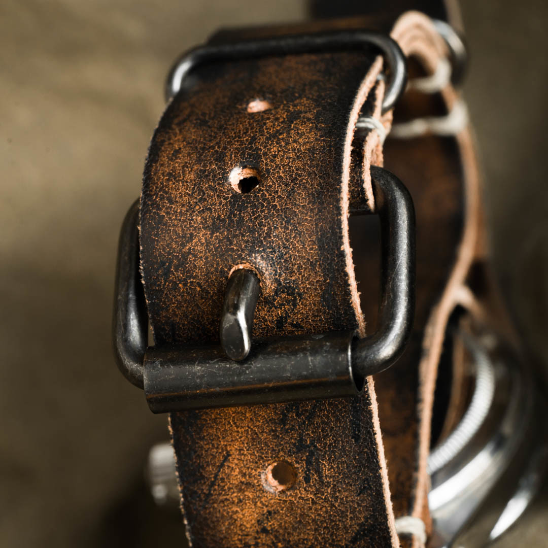 """PATH OF WAR"" CALLIGRAPHY HANDMADE COWHIDE LEATHER STRAP (NATO style)"