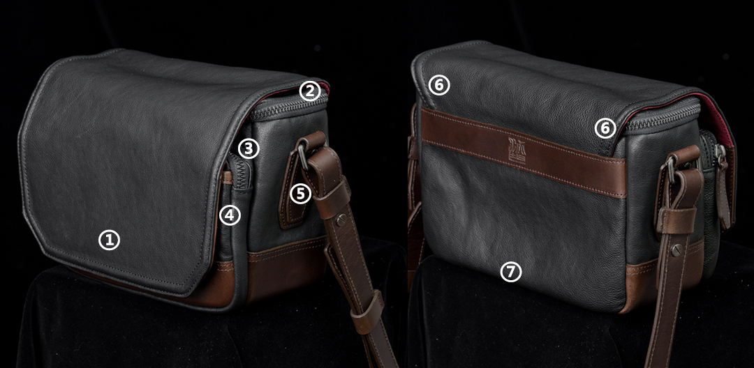 WOTANCRAFT full leather camera bag RYKER
