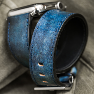"""""""CAMOUFLAGE"""" HAND-DYED COWHIDE LEATHER STRAP, DENIM BLUE (Hermès double tour, for Apple Watch)"""