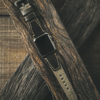 """SALT & PEPPER"" SWISS ARMY RUCKSACK HANDMADE CANVAS STRAP, BLACK LEATHER (for Apple Watch)"