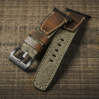 """""""SALT & PEPPER"""" SWISS ARMY RUCKSACK HANDMADE CANVAS STRAP, WITH STAMP (for Apple Watch)"""