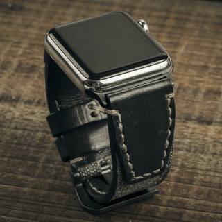 """SALT & PEPPER"" SWISS ARMY RUCKSACK HANDMADE CANVAS STRAP, BLACK LEATHER (for Apple Watch)"
