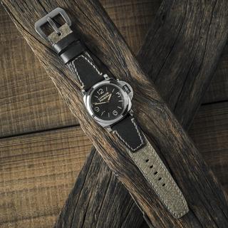 「瑞士胡椒鹽軍包」古董帆布手工錶帶 黑色皮革