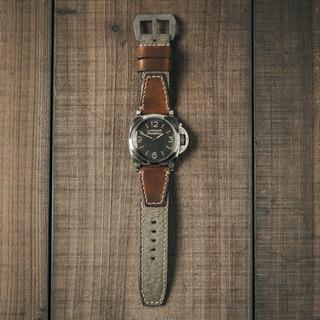 「瑞士胡椒鹽軍包」古董帆布手工錶帶 壓印款