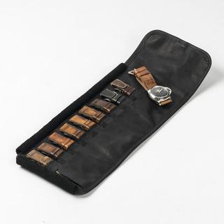 Pebble-Grain Leather Strap Holder (10 Slot)