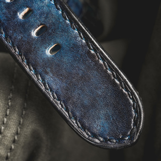"""CAMOUFLAGE"" HAND-DYED COWHIDE LEATHER STRAP, DENIM BLUE"
