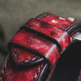 """CAMOUFLAGE"" HAND-DYED COWHIDE LEATHER STRAP, BLOOD RED"