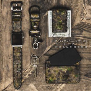 """CAMOUFLAGE"" HAND-DYED COWHIDE LEATHER STRAP, SWAMP GREEN (for Apple Watch)"