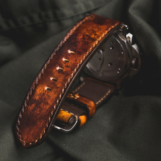 """""""CAMOUFLAGE"""" HAND-DYED COWHIDE LEATHER STRAP, BURNING SUN"""