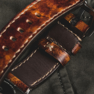 """""""CAMOUFLAGE"""" HAND-DYED COWHIDE LEATHER STRAP, BURNING SUN (for Apple Watch)"""