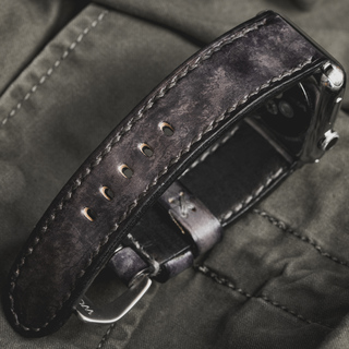 """""""CAMOUFLAGE"""" HAND-DYED COWHIDE LEATHER STRAP, STONE GREY (for Apple Watch)"""