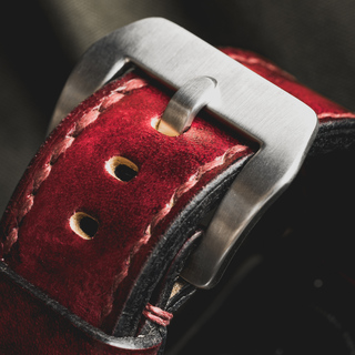 """""""CAMOUFLAGE"""" HAND-DYED COWHIDE LEATHER STRAP, BLOOD RED (for Apple Watch)"""