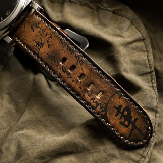 """PATH OF WAR"" CALLIGRAPHY HANDMADE COWHIDE LEATHER STRAP"