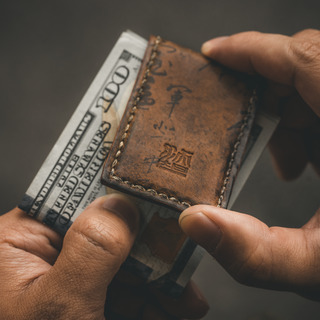 """PATH OF WAR"" CALLIGRAPHY LEATHER MONEY CLIP"