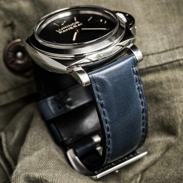 """SHELL CORDOVAN"" HANDMADE LEATHER STRAP, DEEP BLUE"