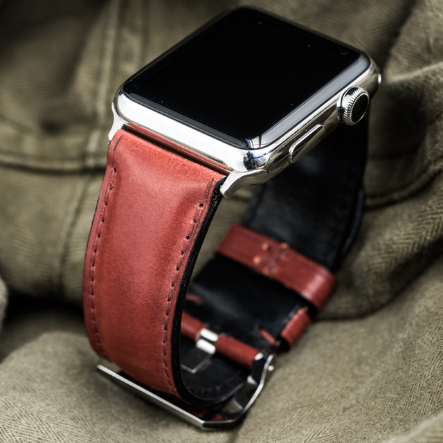 """SHELL CORDOVAN"" HANDMADE LEATHER STRAP, BURGUNDY"