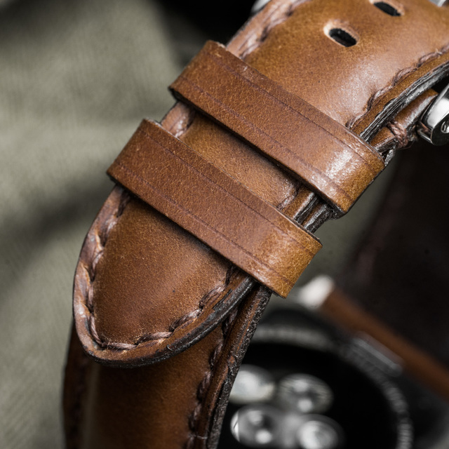 """SHELL CORDOVAN"" HANDMADE LEATHER STRAP, COGNAC"