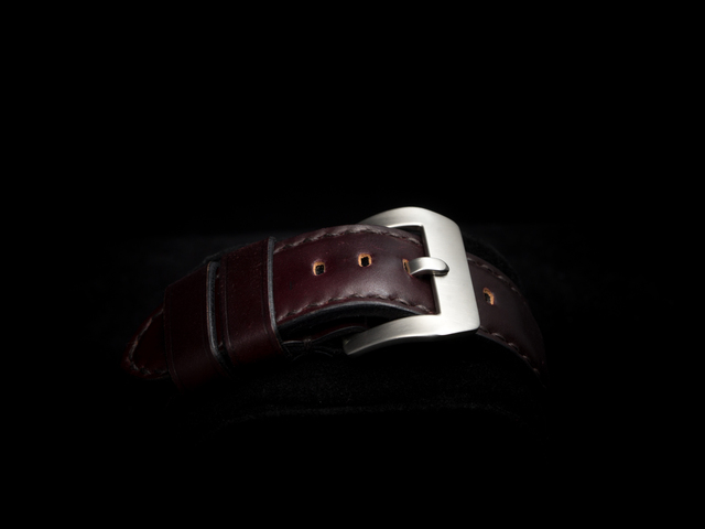 HORWEEN SHELL CORDOVAN LEATHER STRAP BURGUNDY #11