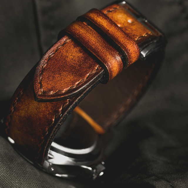 """CAMOUFLAGE"" HAND-DYED COWHIDE LEATHER STRAP, BURNING SUN (for Rolex)"