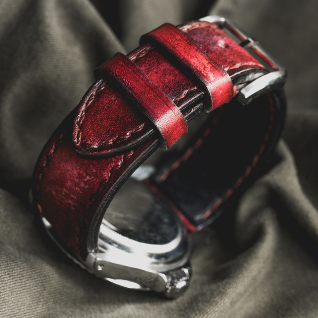 """CAMOUFLAGE"" HAND-DYED COWHIDE LEATHER STRAP, BLOOD RED (for Rolex)"