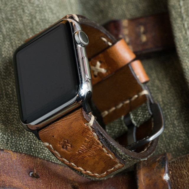 """SALT & PEPPER"" SWISS ARMY RUCKSACK HANDMADE CANVAS STRAP, WITH STAMP (for appleWatch)"