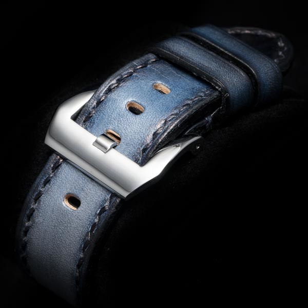 HAND DYED LEATHER STRAP DENIM BLUE #60