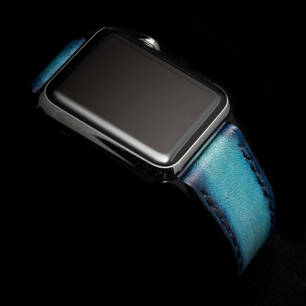 HAND DYED LEATHER STRAP LAKE BLUE #62