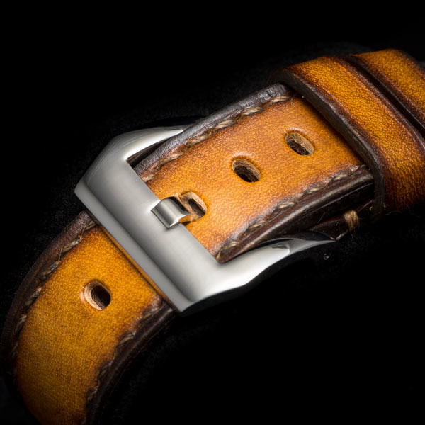 HAND DYED LEATHER STRAP vintage yellow #63