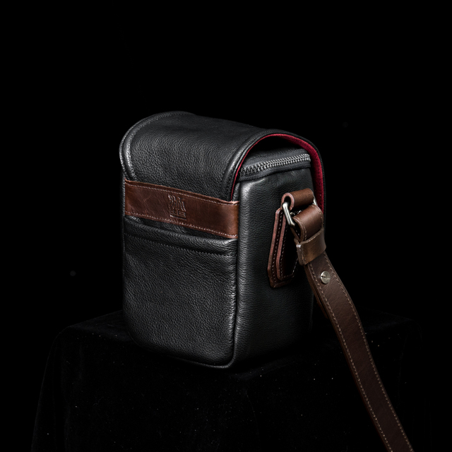 """RYKER"" FULL LEATHER CAMERA BAG (XS)"