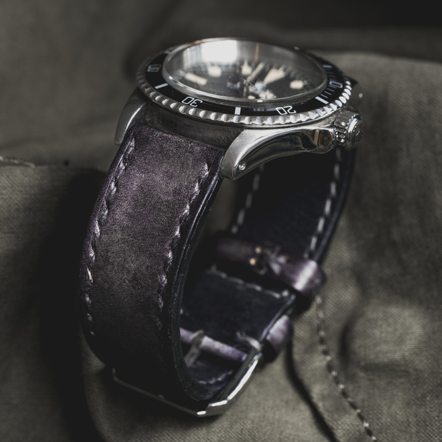 """CAMOUFLAGE"" HAND-DYED COWHIDE LEATHER STRAP, STONE GREY (for Rolex)"