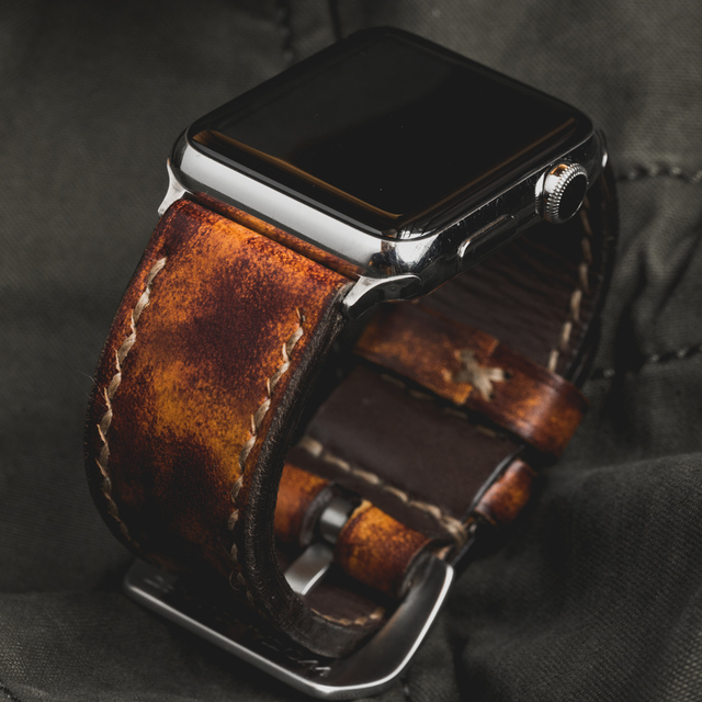 """CAMOUFLAGE"" HAND-DYED COWHIDE LEATHER STRAP, BURNING SUN (for appleWatch)"