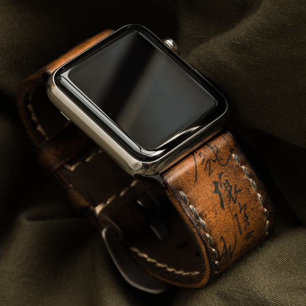 """PATH OF WAR"" CALLIGRAPHY HANDMADE COWHIDE LEATHER STRAP (for appleWatch)"